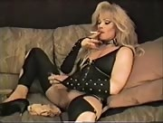 Vintage blonde smokes and strokes